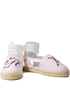 Woman Embroidered Striped Canvas Espadrilles