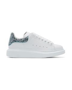 白色&蓝色亮片阔型运动鞋