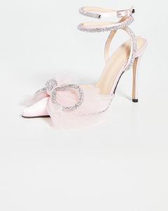 双水晶蝴蝶结高跟鞋