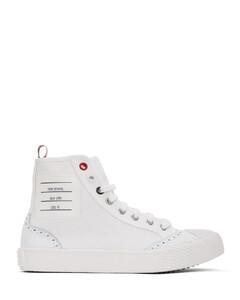 白色Brogued Trainer硫化高帮运动鞋