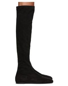 黑色弹性绒面革高筒靴