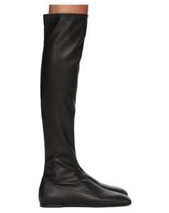 黑色弹性皮革高筒靴