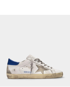 Super-Star Baskets in White and Blue Leather