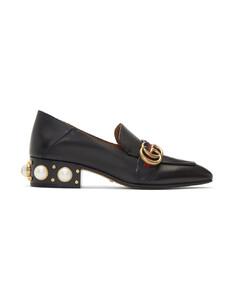 黑色Peyton珍珠低跟乐福鞋