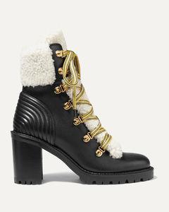 Yetita 70羊毛皮边饰皮革踝靴