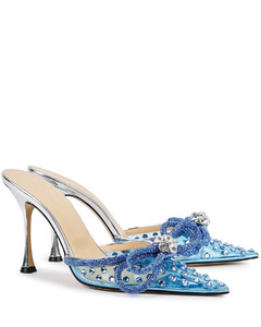 100 blue crystal-embellished PVC mules