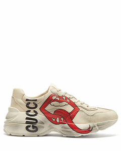 Rhyton mouth and logo-print leather trainers