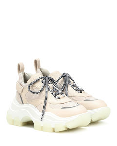 Block leather sneakers