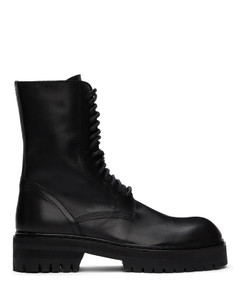 黑色系带中筒靴