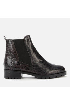 Women's Powerful Reptile Print Leather Boots - Black