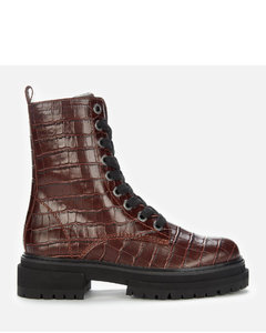 Women's Siva Croc Print Leather Lace Up Boots - Wine