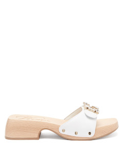Vive crystal-buckle leather clog slides