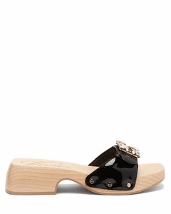 Viv patent-leather clog slides