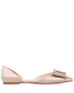 10mm Wings Buckle Satin D'orsay Flats