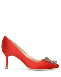 Hangisi 70 red satin pumps
