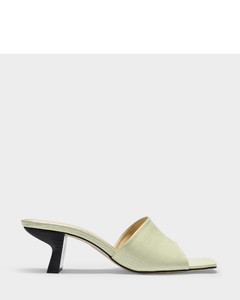 Lily Slides In Sage Green Lizard Embossed Leather