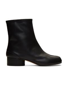 黑色Tabi低跟踝靴