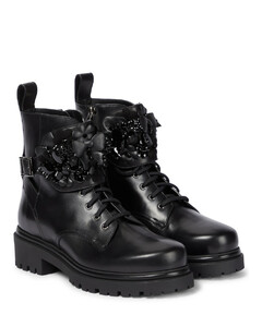 缀饰皮革战地靴