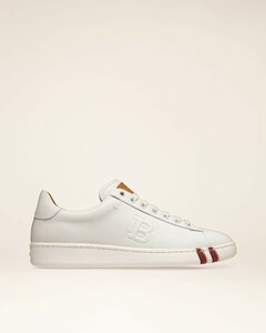 Women's leather perforated sneaker in white