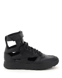 Leather & Fabric Sneakers In Black