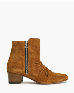 Woman Gathered Suede Ankle Boots