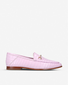 Loraine crocodile-embossed leather loafers