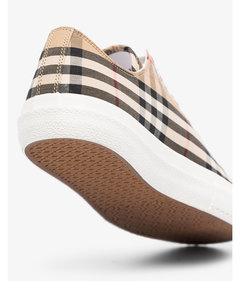 beige logo print vintage check sneakers