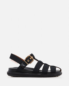 Flat sandals with cotton buckle