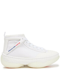 Woman A1 Leather-trimmed Mesh High-top Sneakers