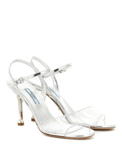 Metallic leather and PVC sandals