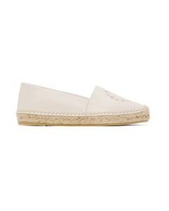 白色Selene徽标草编鞋
