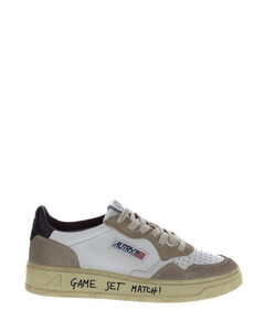 white sneaker in leather with insole in logoed leather.