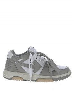Off white leather sneakers with arrow on the side.