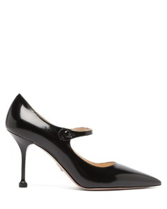 Pointed Mary Jane leather pumps
