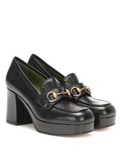 皮革厚底乐福鞋式高跟鞋