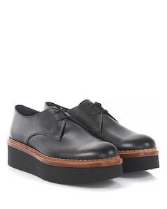 Platform lace up shoes derby calfskin black