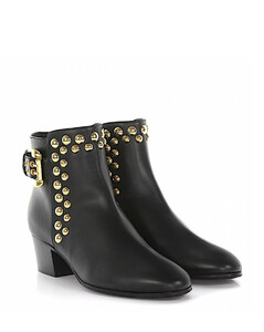 Ankle Boots calfskin nappa leather Rivets black