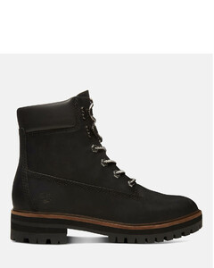 Women's London Square 6 Inch Leather Lace Up Boots - Jet Black