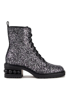 Woman Embellished Glittered Woven Combat Boots