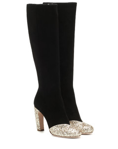 Glitter leather boots
