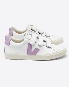 Espar 3-Lock Logo Leather Trainers Extra White with Lilac