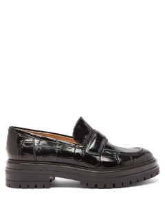 Argo crocodile-effect patent-leather loafers