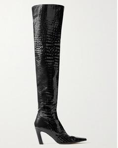 Navy pompom velvet slippers