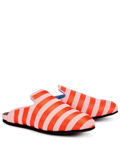 Pink and red striped canvas slippers