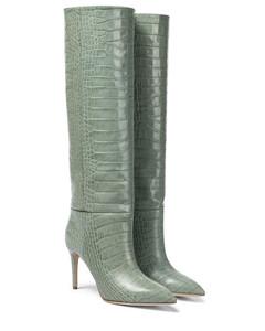 鳄鱼纹皮革及膝靴