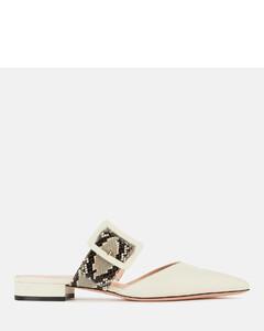 Women's Jemina Flat-Sp Leather Mules - Bone