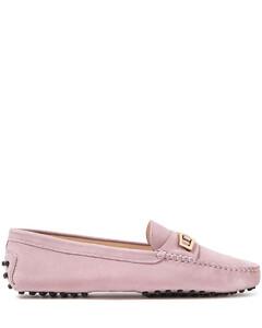 Buckle-embellished nubuck loafers