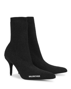 Knife 80 glittered stretch-knit ankle boots