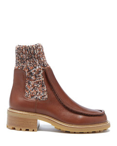 Jamie knitted-cuff leather ankle boots