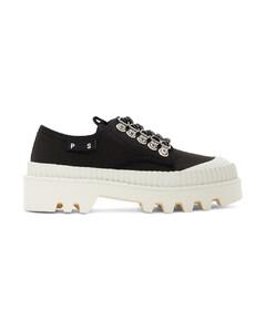 黑色&白色City沟纹鞋底德比鞋
